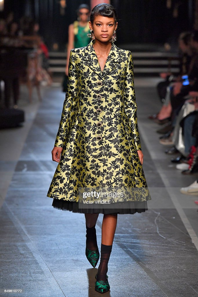 A model walks the runway at the ERDEM Ready to Wear Spring/Summer 2018 fashion show during London Fashion Week September 2017 on September 18, 2017 in London, England.
