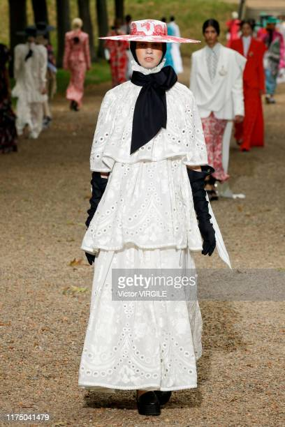 A model walks the runway at the Erdem Ready to Wear Spring/Summer 2020 fashion show during London Fashion Week September 2019 on September 16 2019 in...