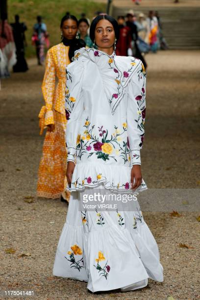 Model walks the runway at the Erdem Ready to Wear Spring/Summer 2020 fashion show during London Fashion Week September 2019 on September 16, 2019 in...