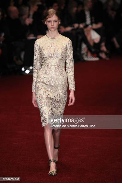 A model walks the runway at the Erdem show at London Fashion Week AW14 at on February 17 2014 in London England