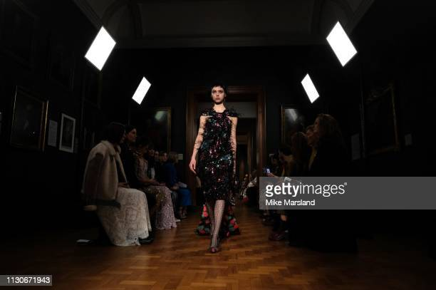 A model walks the runway at the Erdem show during London Fashion Week February 2019 at the National Portrait Gallery on February 18 2019 in London...