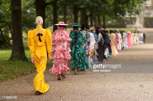 A model walks the runway at the Erdem show during London Fashion Week September 2019 on September 16 2019 in London England