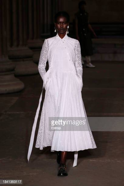 Model walks the runway at the Erdem show during London Fashion Week September 2021 at The British Museum on September 19, 2021 in London, England.