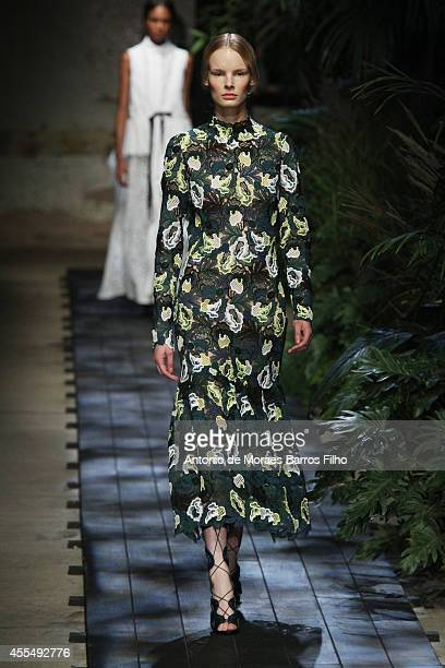 A model walks the runway at the Erdem show during London Fashion Week Spring Summer 2015 at on September 15 2014 in London England
