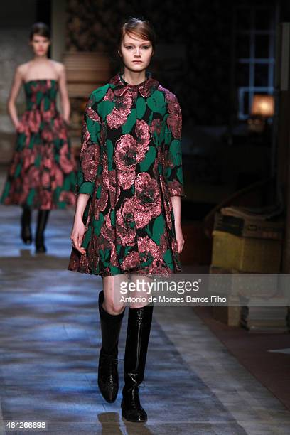 A model walks the runway at the Erdem show during London Fashion Week Fall/Winter 2015/16 at Old Selfridges Hotel on February 23 2015 in London...
