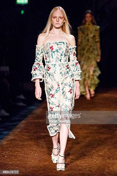 A model walks the runway at the Erdem show during London Fashion Week Spring/Summer 2016/17 on September 21 2015 in London England