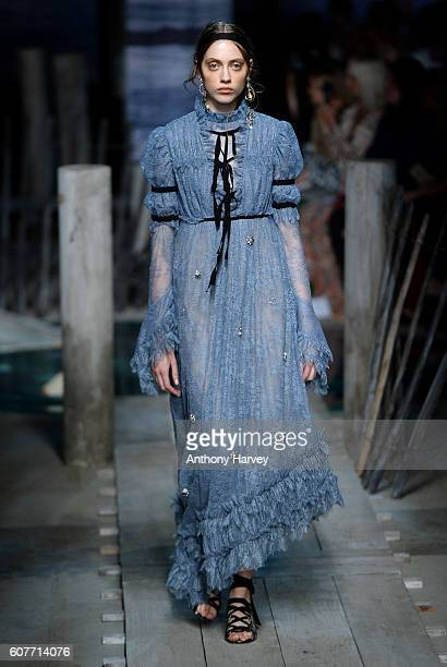 Model walks the runway at the Erdem show during London Fashion Week Spring/Summer collections 2017 on September 19, 2016 in London, United Kingdom.