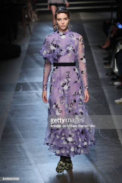 A model walks the runway at the ERDEM show during London Fashion Week September 2017 on September 18 2017 in London England