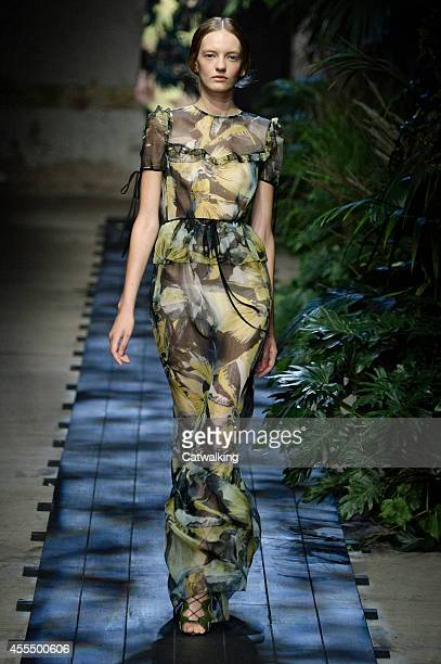 A model walks the runway at the Erdem Spring Summer 2015 fashion show during London Fashion Week on September 15 2014 in London United Kingdom