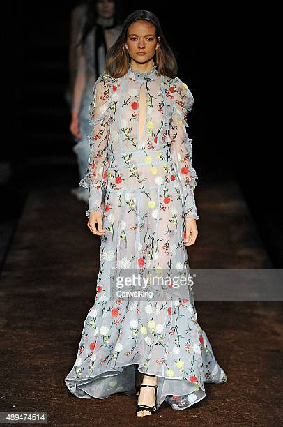 A model walks the runway at the Erdem Spring Summer 2016 fashion show during London Fashion Week on September 21 2015 in London United Kingdom