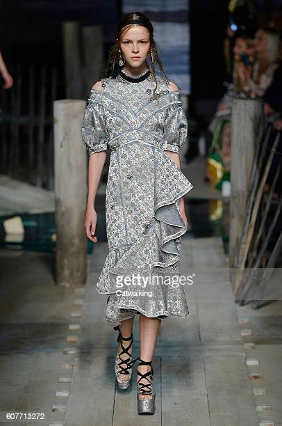 A model walks the runway at the Erdem Spring Summer 2017 fashion show during London Fashion Week on September 19 2016 in London United Kingdom