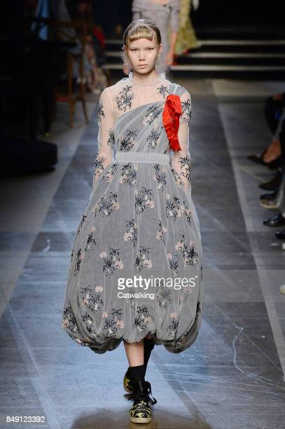 A model walks the runway at the Erdem Spring Summer 2018 fashion show during London Fashion Week on September 18 2017 in London United Kingdom