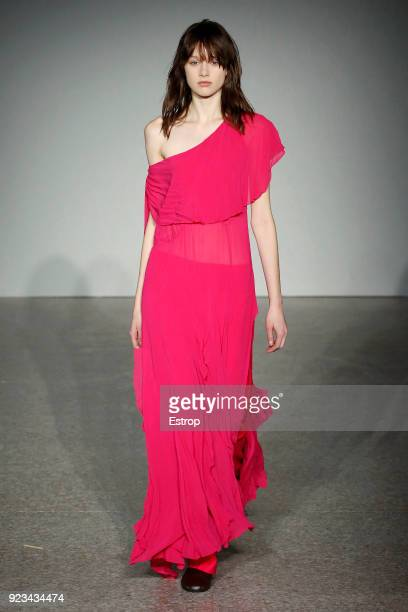 A model walks the runway at the Erika Cavallini show during Milan Fashion Week Fall/Winter 2018/19 on February 22 2018 in Milan Italy