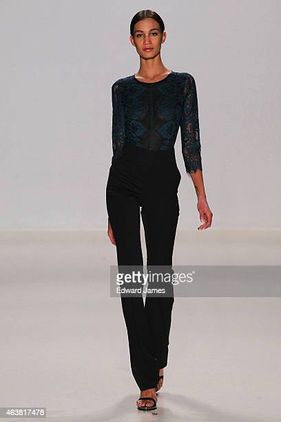 Model walks the runway at the Erin Fetherston fashion show during Mercedes-Benz Fashion Week Fall 2015 at The Salon at Lincoln Center on February 18,...