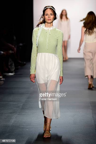 A model walks the runway at the Erin Fetherston fashion show during Spring 2016 New York Fashion Week The Shows at The Dock Skylight at Moynihan...
