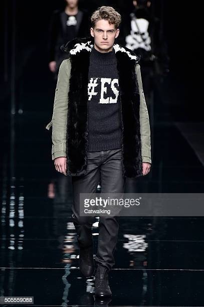A model walks the runway at the Ermanno Scervino Autumn Winter 2016 fashion show during Milan Menswear Fashion Week on January 18 2016 in Milan Italy