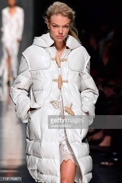 Model walks the runway at the Ermanno Scervino Ready to Wear Fall/Winter 2019-2020 fashion show at Milan Fashion Week Autumn/Winter 2019/20 on...