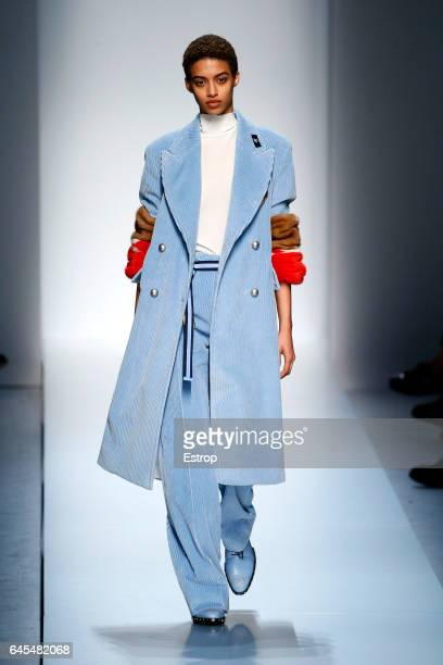 A model walks the runway at the Ermanno Scervino show during Milan Fashion Week Fall/Winter 2017/18 on February 25 2017 in Milan Italy