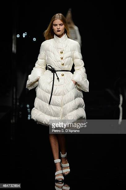 A model walks the runway at the Ermanno Scervino show during the Milan Fashion Week Autumn/Winter 2015 on February 28 2015 in Milan Italy