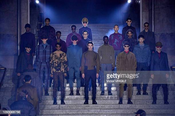 A model walks the runway at the Ermenegildo Zegna Fall/Winter 20192020 fashion show during Milan Menswear Fashion Week Autumn/Winter 2019/20 on...