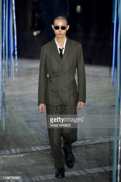 Model walks the runway at the Ermenegildo Zegna Fall/Winter 2020-2021 fashion show on January 10, 2020 in Milan, Italy.