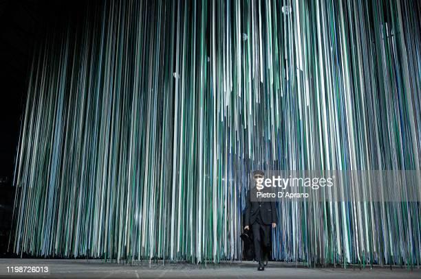 Model walks the runway at the Ermenegildo Zegna fashion show on January 10, 2020 in Milan, Italy.