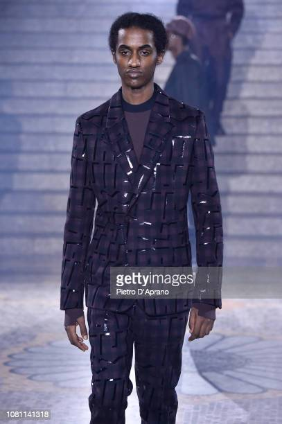 A model walks the runway at the Ermenegildo Zegna show during Milan Menswear Fashion Week Autumn/Winter 2019/20 on January 11 2019 in Milan Italy