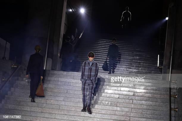A model walks the runway at the Ermenegildo Zegna show during Milan Menswear Fashion Week Autumn/Winter 2019/20 on January 11 2019 in Milan Italy