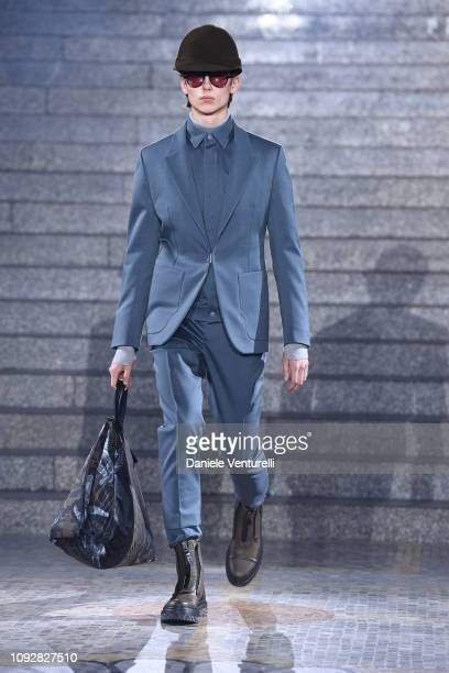 Model walks the runway at the Ermenegildo Zegna show during Milan Menswear Fashion Week Autumn/Winter 2019/20 on January 11, 2019 in Milan, Italy.