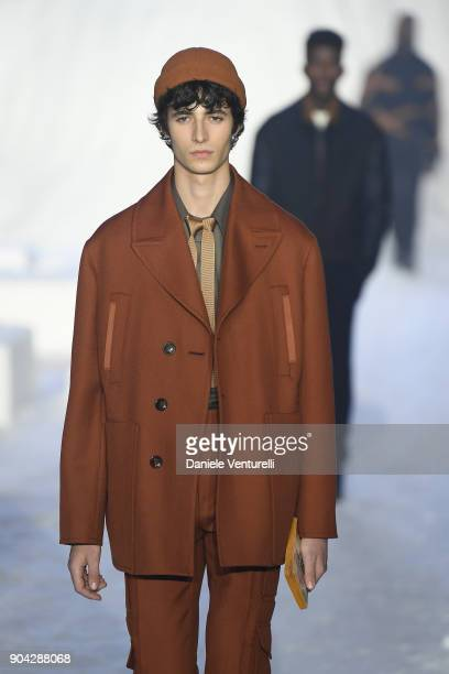 A model walks the runway at the Ermenegildo Zegna show during Milan Men's Fashion Week Fall/Winter 2018/19 on January 12 2018 in Milan Italy