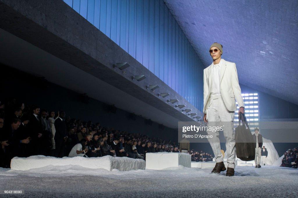 A model walks the runway at the Ermenegildo Zegna show during Milan Men's Fashion Week Fall/Winter 2018/19 on January 12, 2018 in Milan, Italy.