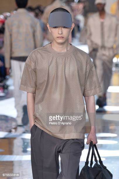 A model walks the runway at the Ermenegildo Zegna show during Milan Men's Fashion Week Spring/Summer 2019 on June 15 2018 in Milan Italy