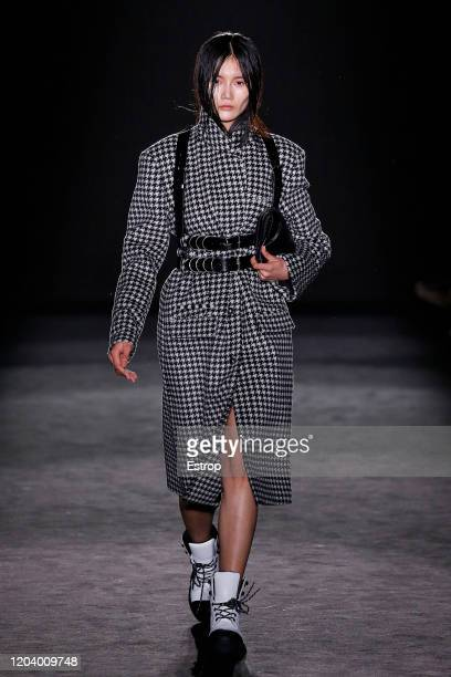 Model walks the runway at the Esaú Yori fashion show during 080 Barcelona Fashion at Hospital de Sant Pau on February 3, 2020 in Barcelona, Spain.