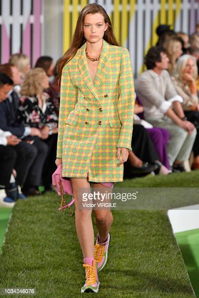 A model walks the runway at the Escada Spring/Summer 2019 fashion show during New York Fashion Week on September 9 2018 in New York City