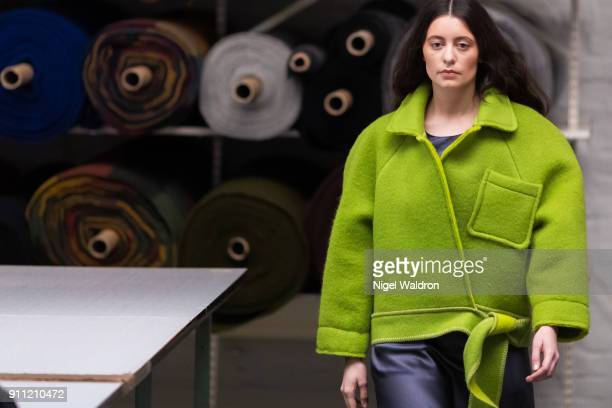 A model walks the runway at the ESP show during the Fashion Week Oslo 2018 at Kabelgaten 13 on January 27 2018 in Oslo Norway