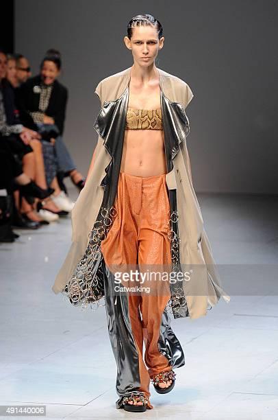 A model walks the runway at the Esteban Cortazar Spring Summer 2016 fashion show during Paris Fashion Week on October 5 2015 in Paris France