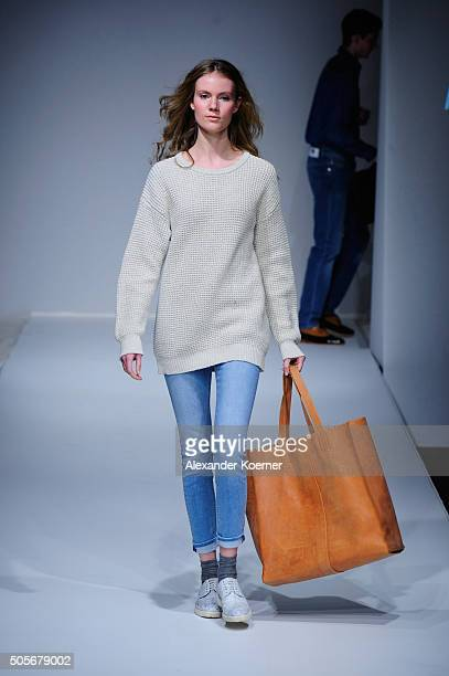 A model walks the runway at the 'Ethical Fashion show' during the MercedesBenz Fashion Week Berlin Autumn/Winter 2016 at Postbahnhof on January 19...