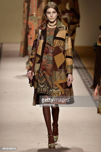 A model walks the runway at the Etro Autumn Winter 2015 fashion show during Milan Fashion Week on February 27 2015 in Milan Italy