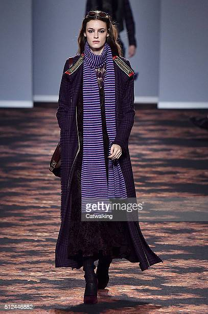 A model walks the runway at the Etro Autumn Winter 2016 fashion show during Milan Fashion Week on February 26 2016 in Milan Italy