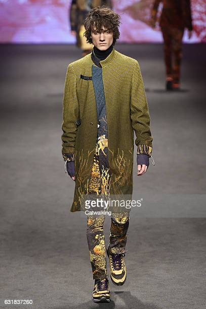 Model walks the runway at the Etro Autumn Winter 2017 fashion show during Milan Menswear Fashion Week on January 16, 2017 in Milan, Italy.