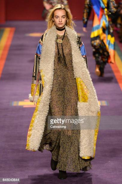 A model walks the runway at the Etro Autumn Winter 2017 fashion show during Milan Fashion Week on February 24 2017 in Milan Italy