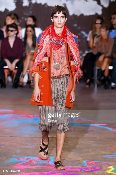 Model walks the runway at the Etro fashion during Milan Men's Fashion Week Spring/Summer 2020 on June 16, 2019 in Milan, Italy.