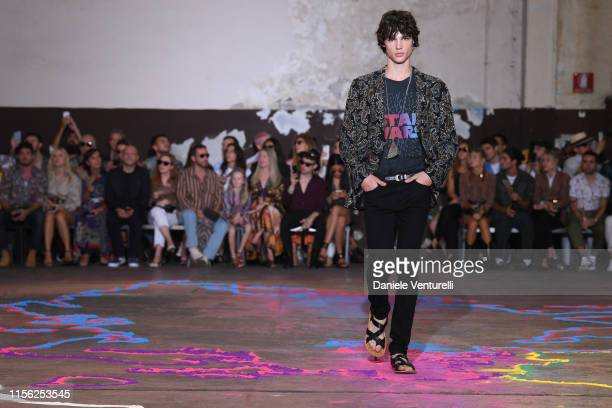 Model walks the runway at the Etro fashion show during the Milan Men's Fashion Week Spring/Summer 2020 on June 16, 2019 in Milan, Italy.