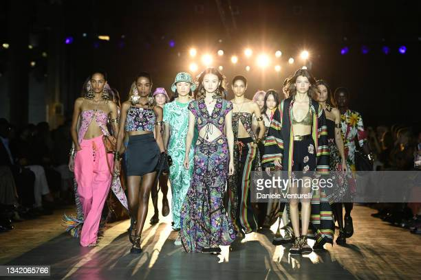 Model walks the runway at the Etro fashion show during the Milan Fashion Week - Spring / Summer 2022 on September 23, 2021 in Milan, Italy.