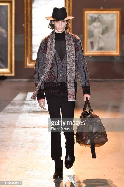 Model walks the runway at the Etro fashion show on January 12, 2020 in Milan, Italy.