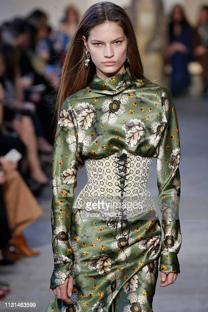 Model walks the runway at the Etro Ready to Wear Fall/Winter 2019-2020 fashion show at Milan Fashion Week Autumn/Winter 2019/20 on February 22, 2019...