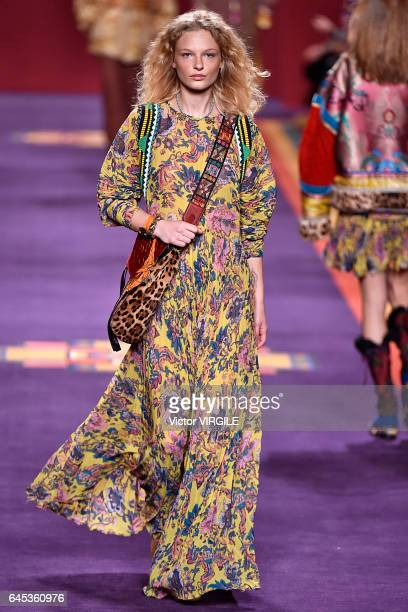 A model walks the runway at the Etro Ready to Wear fashion show during Milan Fashion Week Fall/Winter 2017/18 on February 24 2017 in Milan Italy