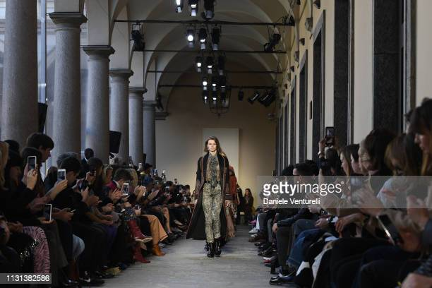 A model walks the runway at the Etro show at Milan Fashion Week Autumn/Winter 2019/20 on February 22 2019 in Milan Italy