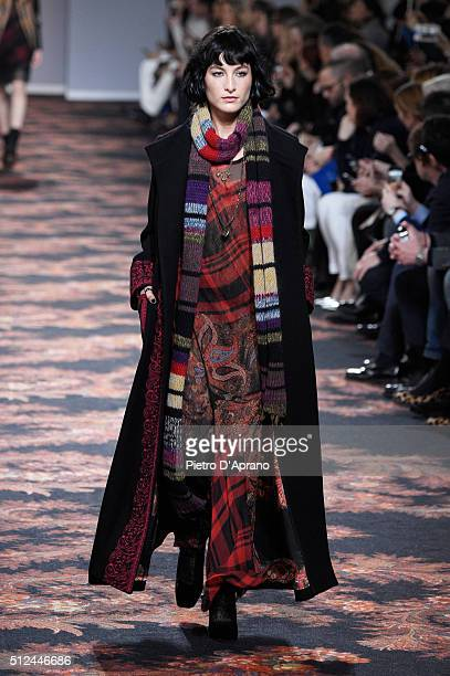 A model walks the runway at the Etro show during Milan Fashion Week Fall/Winter 2016/17 on February 26 2016 in Milan Italy