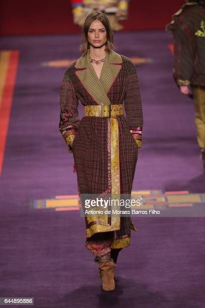 A model walks the runway at the Etro show during Milan Fashion Week Fall/Winter 2017/18 on February 24 2017 in Milan Italy